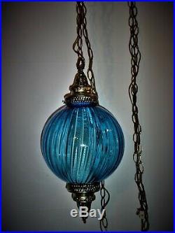 Beautiful Vintage Atomic Blue Spiral Glass Hanging Lamp