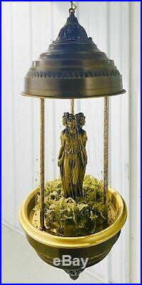 Beautiful Vintage Hanging Motion Mineral Oil Rain Lamp with Three Greek Goddesses