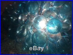 Blue Blown Glass Grape Cluster Hanging Light Lamp Art Nouveau Large Vintage
