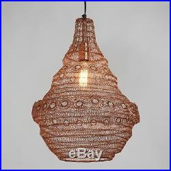 Boho Chic Pendant Light Vintage Rose Gold Ring Wire Hanging Lamp Ceiling Decor