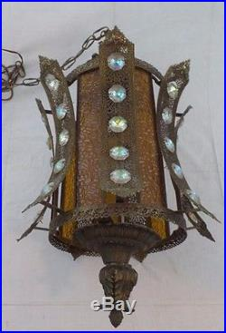 Brass Chandelier withMetal Shade & 35 Crystals Vintage Deco Hanging Lamp