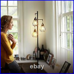 Brightech Teardrop LED Floor Lamp 3 Vintage Hanging Shades, LED Bulbs Black