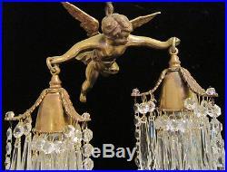 Bronze Vintage Chandelier hanging French Lamp Flying Cherub Brass Crystal lanter