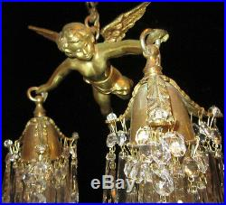 Bronze Vintage Chandelier hanging French Lamp Flying Cherub Brass Crystal prisms