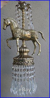 Carousel Horse chandelier hanging Swag Lamp brass bronze spelter Vintage metal