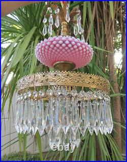Chandelier Fenton hobnail Opalescent Cranberry brass Glass SWAG Lamp Vintage