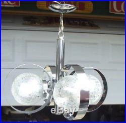 Chrome Glass Lamp 1960s 4 Light Crackle Globe Hanging Fixture Vtg Modern Swag
