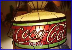 Coca-Cola Stain Glass lamp light Pendant sign Hanging Tiffany chandalier VTG