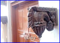 Corbel Pair Wall Hanging Bracket Vintage Wooden Craft for Hanging Lamp Bell