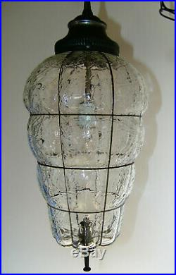 Crackle Glass Hanging Swag Lamp Light Black Gothic Chain Century REWIRED Vtg