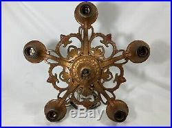 DECO 5 Light Bronze Tone Hanging Lamp Chandelier Ceiling Light Vintage Antique