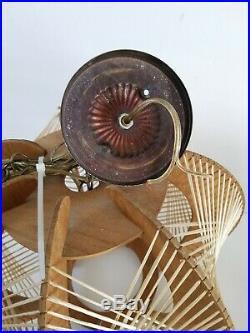 Danish Mid Century Modern String & Wood Swag Hanging Lamp Vintage Style 18w