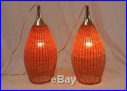 Danish Modern Wicker Rattan Teardrop Swag Lamps Pair Vintage Tiki Hanging