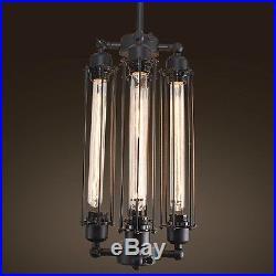 EDISON VINTAGE PENDANT LIGHT CHANDELIER Rustic Iron Cage Hanging Ceiling Lamp A1
