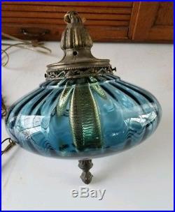 Vintage Hanging Light Swag Lamp Blue