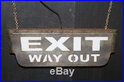 EXIT WAY OUT 2 sided steel hanging movie theater marquee lamp vintage light new