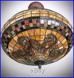 Exceptional Rare Large Vintage Beautiful Hanging Leaded Glass Lamp