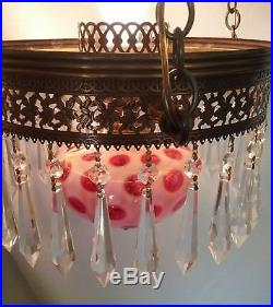FENTON Coin Dot Cranberry Opalescent Library Hanging Lamp Vintage Chandelier EUC