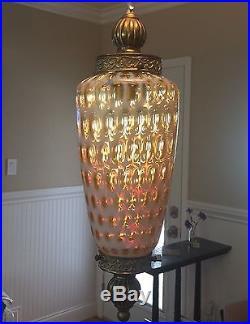 Fenton Coin Dot Honeysuckle Yellow Swag Hanging Lamp Light Lg Teardrop Vtg