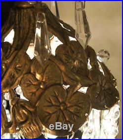 Filigree beaded powder Lamp hanging Spelter Pond Lily crystal chandelier Vintage