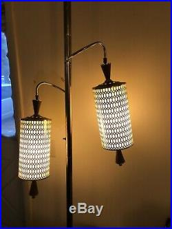 Floor to ceiling tension pole Light Lamp Vtg Swag Modern Hanging Shade 1960s 70s