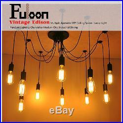 Fuloon Industrial Vintage Chandelier Light 14 Head Ceiling Pendant Hanging Lamp