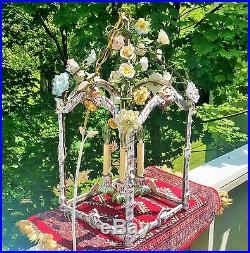 GAZEBO antique italian porcelain chandelier vtg hanging pottery tile insect lamp