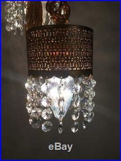 Glass Crystal Hanging Swag Lamp Gold Metal True Vintage Hollywood Regency 5 Swag