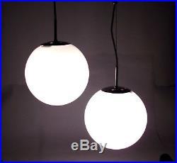 Glass Globe Chandelier Vintage Hanging Lamp Italian Opaline Pendant Chrome 1960s