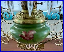 Gorgeous Antique GWTW Hanging Parlor / Library Oil Lamp Converted to Electric