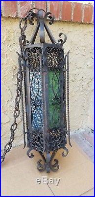 HUGE 32.5 Vintage 1970 Spanish Revival Wrought Iron Ornate Hanging Pendant Lamp