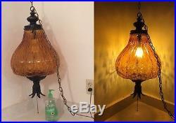 HUGE Retro Vintage Antique MidCentury Modern Hanging Swag Lamp Light Fixture