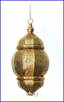 Handmade Vintage Look Moroccan Metal Ceiling Light Fixture Hanging Lantern Lamps