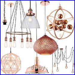 Hanging Ceiling Pendant Lights Tarnished & Bright Copper Modern Indoor Lamps