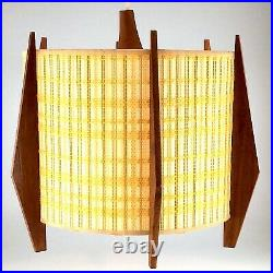 Hanging Lamp Shade Teak Mid Century Modern Atomic Vintage Adjustable S667