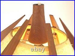 Hanging Lamp Shade Teak Mid Century Modern Atomic Vintage Adjustable S670
