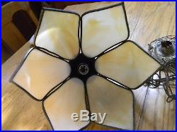 Hanging Lamps(2) Vintage Tiffany Tulip Style Swag Lamps Carmel Swag