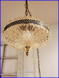 Hanging Swag Lamp Mid Century Regency Light Tangerine Pineapple Cut Glass VTG