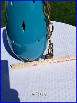 Hanging Vintage MID CENTURY modern CERAMIC SWAG LAMP teal color