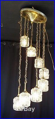 Hanging Vintage Swag Lamp Ceiling Light 8 Tier Glass Cut Chandelier Mid Century