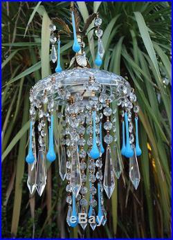 Hanging vintage Lamp brass toleware crystal prisms Opaline Aqua Blue art glass