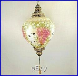 Hollywood Regency Falkenstein Hanging Swag Lamp Light Grape VTG MCM Fuschia Milk
