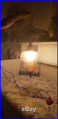 Hollywood Regency MCM Vintage Amber Crackle Glass Swag Hanging Lamp Fixture