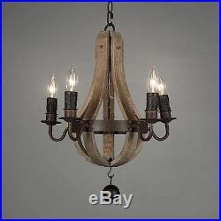 Home Vintage Amercian Rustic Wooden Pendant Wine Barrel Chandelier Lamp Decor