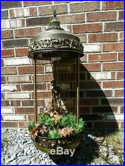 Huge 36 Vintage Oil Rain Hanging Lamp Light Nude Lady Goddess Bronze Pillar