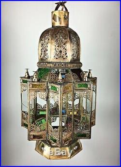 Huge Vintage Moorish Glass Hanging Hall Lantern Ceiling Pendant Light Lamp