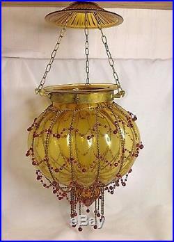 Hundi Lantern Hanging Lamp Antique Brass Beaded Amber Pumpkin Glass Vintage