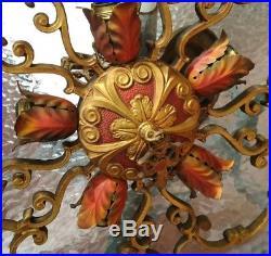 Incredible Victorian vtg antique Hanging Ceiling Lamp Chandelier Flower Sockets