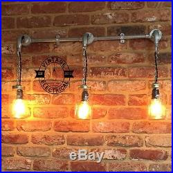 Industrial 3 x Hanging Kilner Jars Kitchen Wall Light Vintage Pendant Lamps