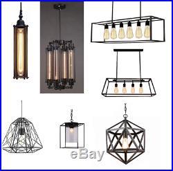 Industrial Light Pendant Vintage Hanging Ceiling Cage Box Loft Island Metal Lamp